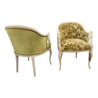 Mid-Century White & Green Occasional Chairs - A Pair For Sale