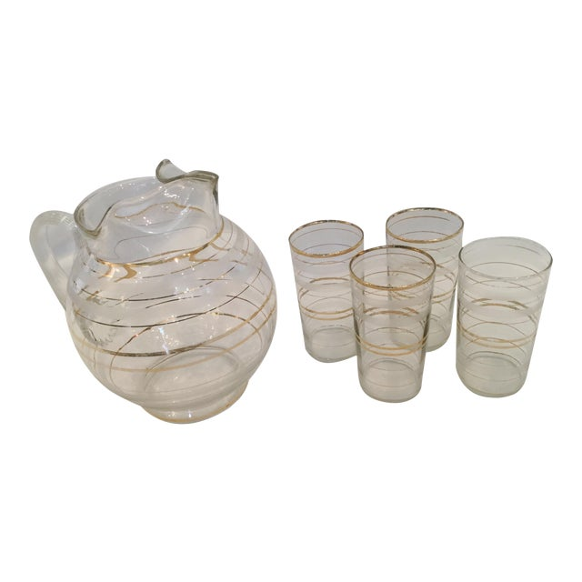 Set of 4 Vintage Tumblers and Pitcher For Sale