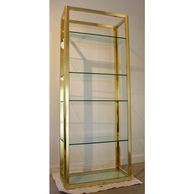 Milo Baughman Style Brass Etagere Shelving Unit For Sale - Image 10 of 11