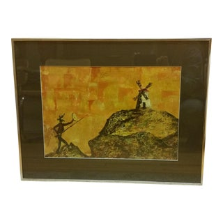 Mid-Century Don Quixote & Windmill Oil Painting For Sale