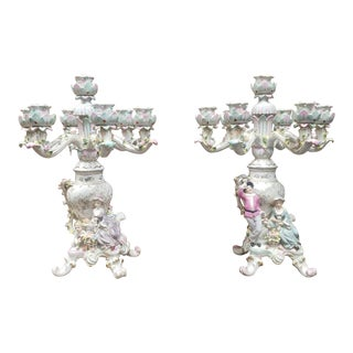 Pair 1960s Porcelain Dresden ~ Meissen Style Highly Decorative Table Candelabras For Sale