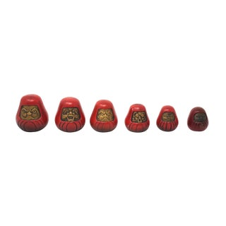 1980s Asian Modern Gold and Red Cast Iron Daruma Paperweights - Set of 6