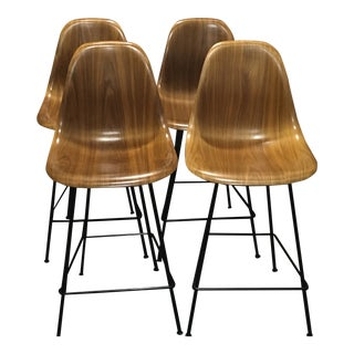 Eames Molded Walnut Counter Stools - Set of 4 For Sale