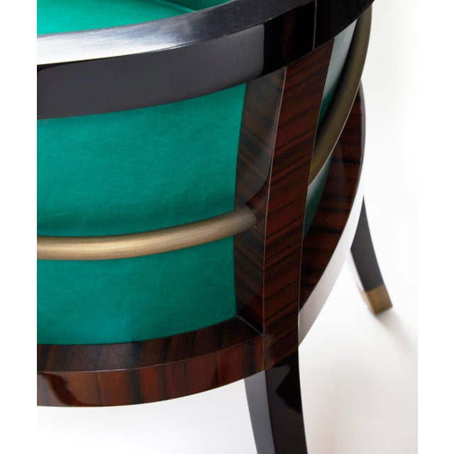 Macassar Ebony Black Lacquer and Bronze Trim Dining or Occasional Chair For Sale - Image 6 of 7