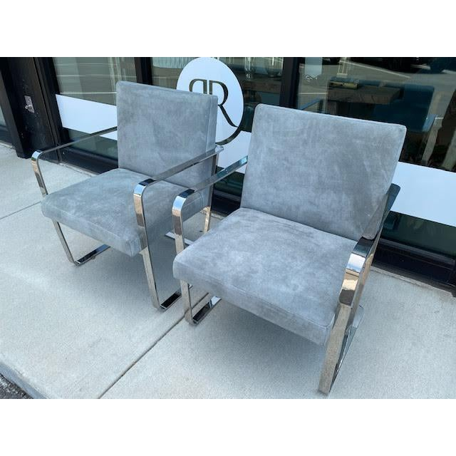 Mid-Century Modern Pair of Vintage Chrome Chairs, Newly Recovered in Hide For Sale - Image 3 of 11