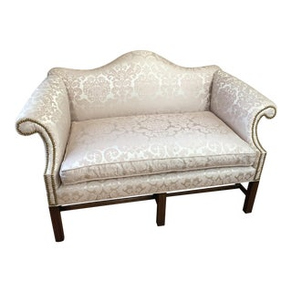 Late 20th Century Chippendale Style Camelback Settee Loveseat For Sale