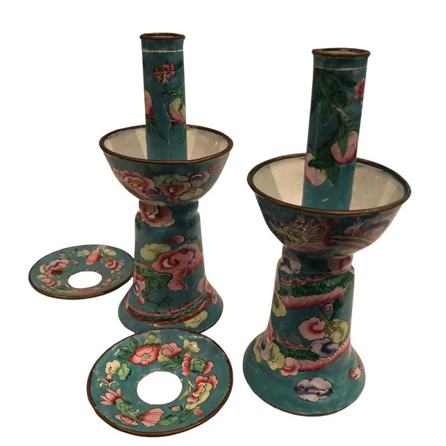 This beautiful and rare pair of antique Chinese candleholders in excellent condition, circa 1890's.