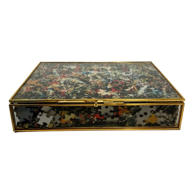 Red Vintage Jackson Pollock Puzzle in Glass & Brass Shadow Box For Sale - Image 8 of 8