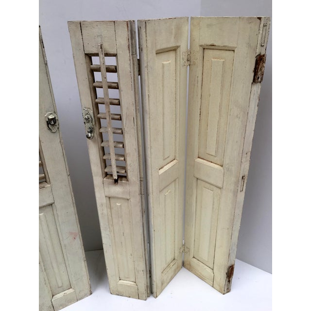 White Vintage French Mini Trifold Shutters - A Pair For Sale - Image 8 of 9