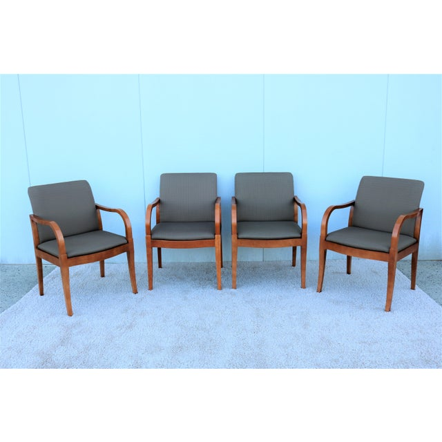 19th Century Scandinavian Modern Gunlocke Guest Dining Arm Chairs - Set of 4 For Sale - Image 13 of 13
