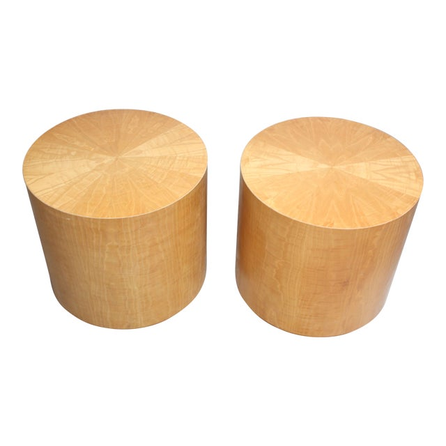 Pair of Large Bookmatched Bird's-Eye Maple Drum Tables - Image 1 of 7