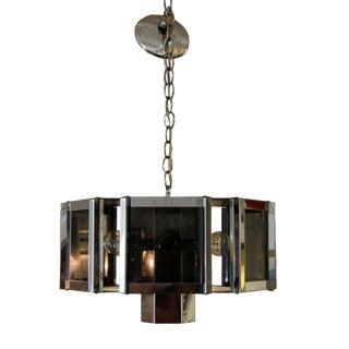 Mid Century Modern Sonneman Chrome & Smoked Glass Chandelier For Sale