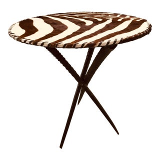 1990s Safari Zebra Hide Table With Gemsbok Antelope Horn Legs For Sale