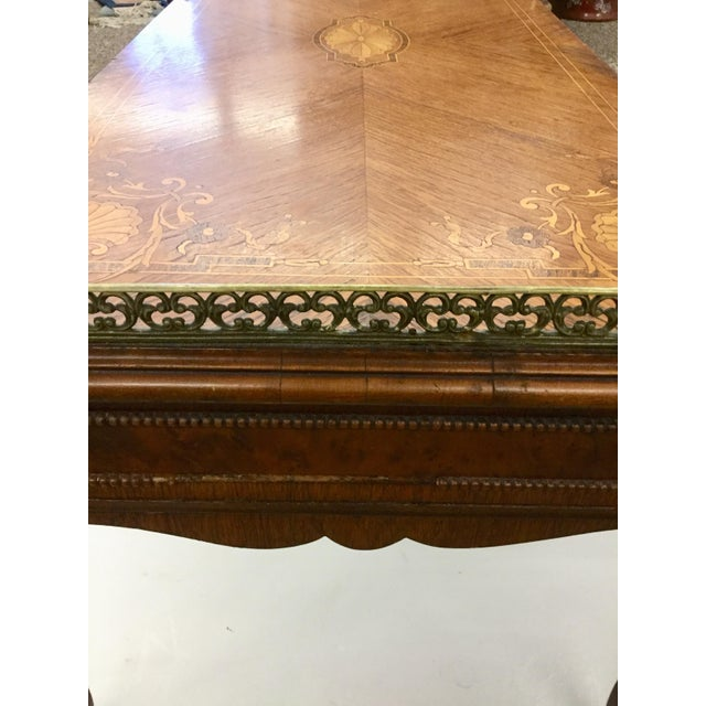 Antique Inlaid Glass Top French Coffee Table - Image 12 of 13