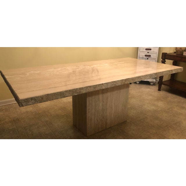 Italian Travertine Dining Table For Sale - Image 6 of 6