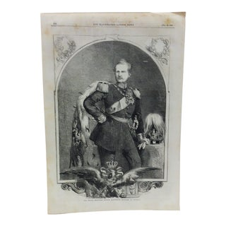 "Mid 19th C. Antique ""His Royal Highness Prince Frederick William of Prussia"" Print For Sale"