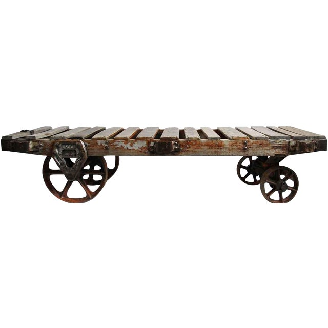 Industrial Work Cart Coffee Table - Image 1 of 5