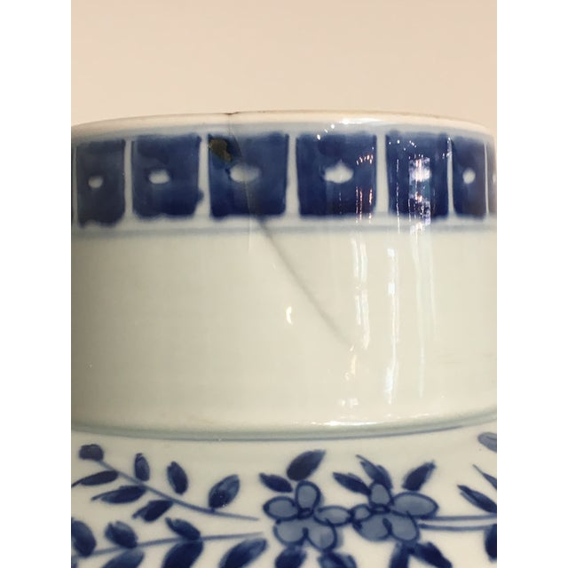 Blue Chinese Tall Blue and White Baluster Covered Porcelain Vases, circa 1900- A Pair For Sale - Image 8 of 8