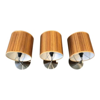 3 Individual Zebrawood Shade Sconce Lights - Wall Lamps