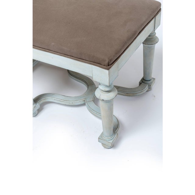 Wood Pair of Light Blue or Green Painted Benches With Grey Cushions For Sale - Image 7 of 11