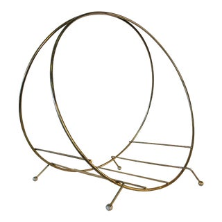 1960s Gold Round Metal Magazine Rack For Sale