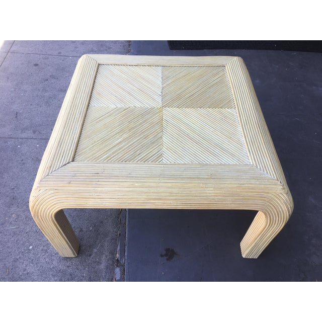 White Gabriela Crespi Style Pencil Rattan Square Coffee Table For Sale - Image 8 of 9