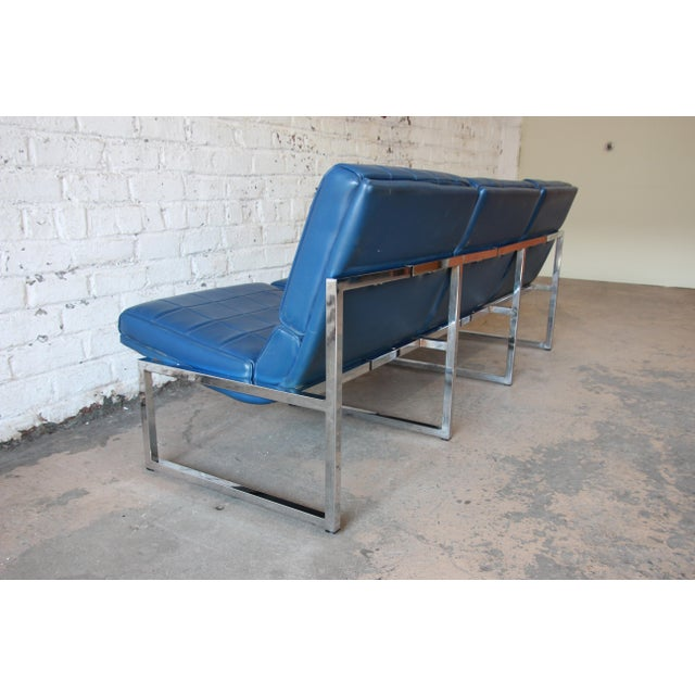 1970s Vintage Chromcraft Milo Baughman Style Three-Seat Sofa For Sale - Image 9 of 11