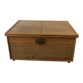 1970s Rattan and Faux Bamboo Sliding Top Coffee Table For Sale