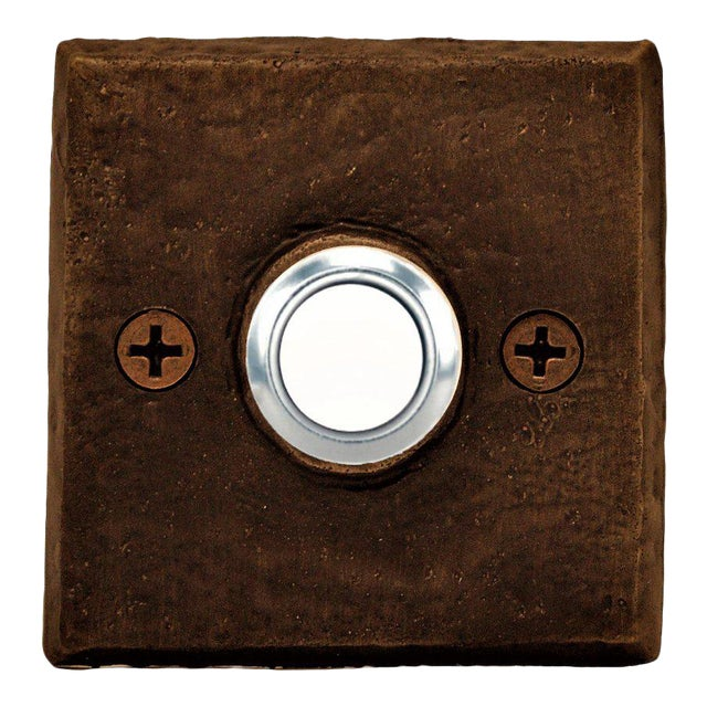Square Classic Doorbell, Traditional Patina For Sale