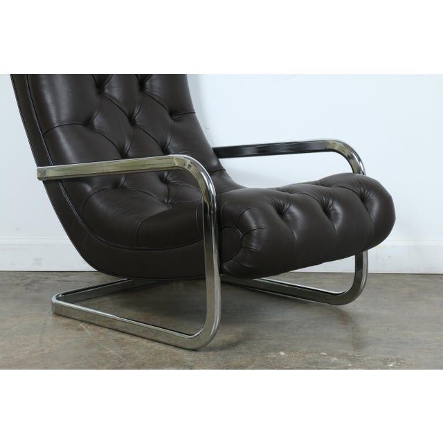 Italian Leather Chair and Ottoman For Sale - Image 11 of 11