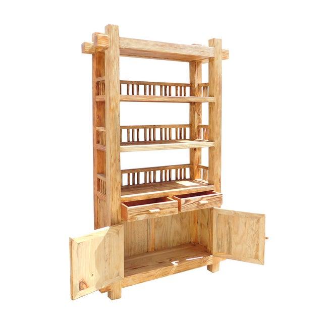Rustic Raw Wood Open Shelf Bookcase - Image 5 of 6