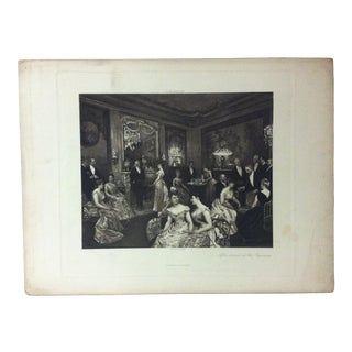 """Antique Photogravure on Paper, """"After Dinner at the Baroness"""" - D. Appleton Company - Circa 1860 For Sale"""
