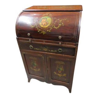 Early 20th Century Adams Style Antique Cylinder Desk For Sale