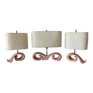 Vintage Haeger Pink Lamps - Set of 3