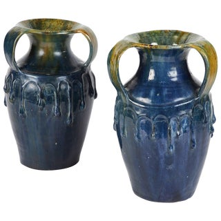 Pair of Blue Art Nouveau Vases From England Circa 1910 For Sale