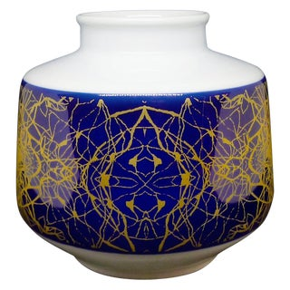 Modernist Brutalist Small Round Vase With Cobalt Blue & Gold For Sale