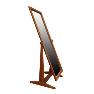 1960s Vintage Danish Modern Pedersen & Hansen Teak Cheval Floor Mirror For Sale