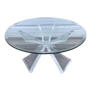 Mid Century Modern Lucite Butterfly Coffee Table With Glass Top MCM Retr For Sale
