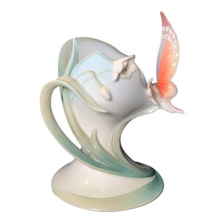 Franz Collection Papillon Butterfly Pillar Candleholder Fz00446 For Sale