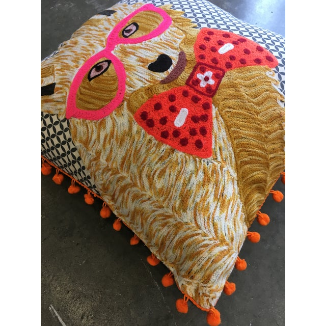 Traditional Karma Living Fox With Glasses Pillow For Sale - Image 3 of 4