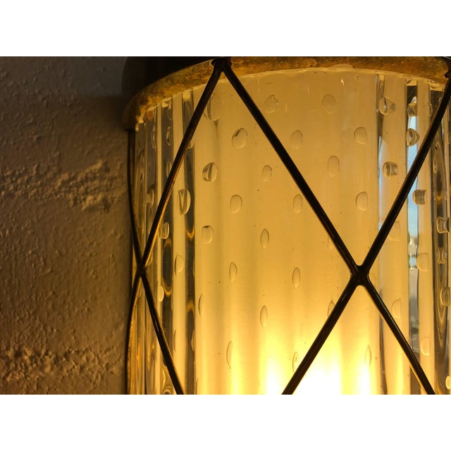 Mid 20th Century Wall-Mounted Brass and Glass Sconces- A Pair For Sale - Image 5 of 8