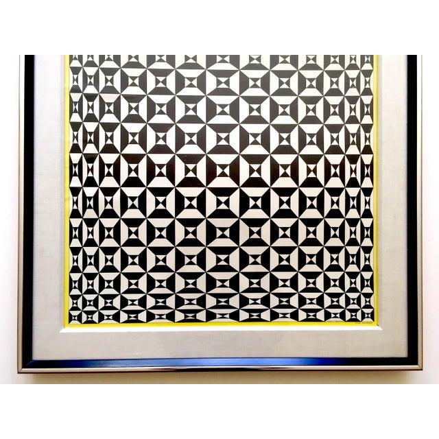 "Mid-Century Modern Edna Andrade Rare Vintage 1969 Mid Century Modern Framed Op Art Lithograph Print "" Black Diamond "" 1967 For Sale - Image 3 of 13"