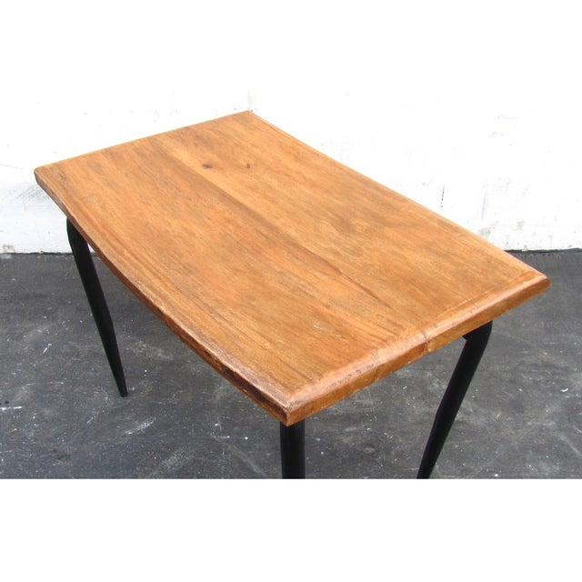 Natural Wooden Slab Table with Black Steel Base For Sale In Los Angeles - Image 6 of 6