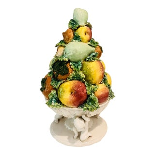 Italian Capodimonte Putti and Fruit Centerpiece or Topiary For Sale