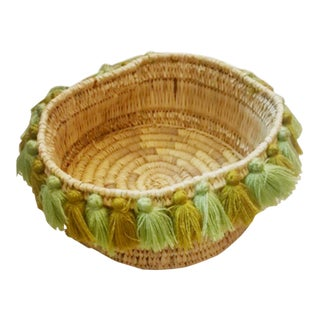 Moroccan Succulent Greens Tassel Small Basket For Sale