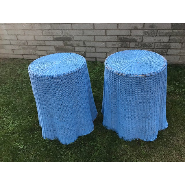 Draped Wicker Rattan Tables - A PAir - Image 8 of 8