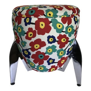 Late 20th Century Atomic Chrome Rocket Stool For Sale