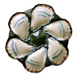 Image of Antique Longchamp French Majolica Oyster Plate For Sale