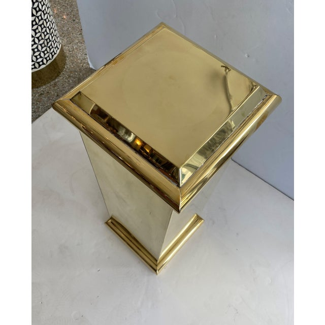 """30"""" Polished Brass Pedestal by Crafts For Sale In West Palm - Image 6 of 13"""