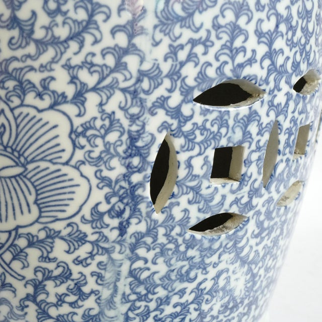 Blue & White Ceramic Garden Stool For Sale - Image 4 of 5
